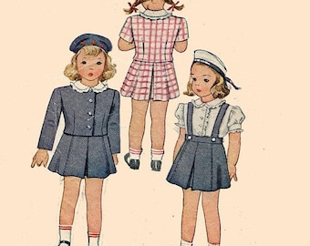 ON SALE Vintage 1940s Cutest Toddlers Two Piece Suit and Blouse Skirt w/ Suspenders Sewing Pattern McCall 5769 Childrens 40s Pattern Size 4