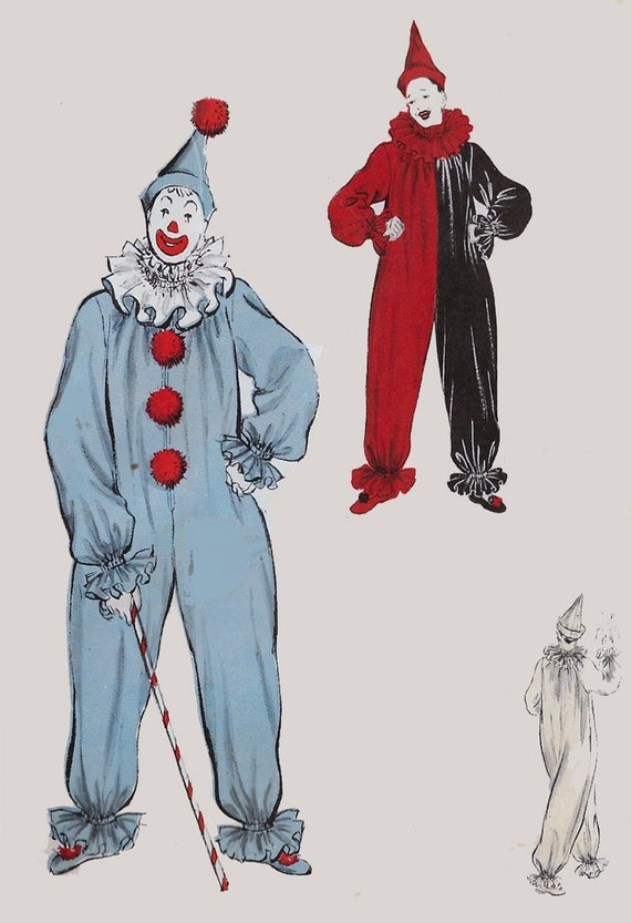 Vintage 60s Pennywise Clown Costume Halloween Costume Sewing Etsy Stunning Pennywise Costume Pattern
