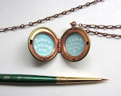 Custom Message in Vintage Locket, Hand-Painted in Enamel, One of a Kind Gift for Long Distance Family