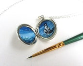Lighthouse Sterling Silver Locket, One Of A Kind Jewelry, Hand-Painted Gift of Hope