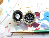 I Love You Locket, One of a Kind Jewelry, Hand-Painted Enamel in Sterling Silver