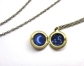 Leo Constellation Tiny Locket, Hand-Painted Vintage Brass Necklace with Crescent Moon