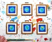 Tiny Framed Art Set of 6, Mini Prints of Earth in Vintage Brass Frames, International Travel Art for a Small Space