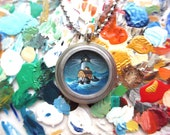 Lighthouse Necklace, One of a Kind Tiny Painting in Steel and Glass Pendant, Gift of Hope