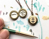 Anchor Locket, Hope Anchors the Soul Nautical Necklace, Vintage Petite Jewelry