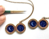 Custom Hand-Painted Constellation in Vintage Brass and Copper Locket, Crescent Moon Necklace, One of a Kind