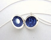 Orion Locket, Unique Hand-Painted Constellation in Sterling Silver Necklace, One Of A Kind Jewelry
