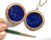 Big and Little Dipper Hand-Painted Constellations in Vintage Copper Locket, One of a Kind Astronomy Necklace