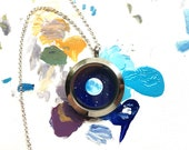 Blue Moon Necklace, Hand-Painted Steel and Glass Pendant, One of a Kind Tiny Art Locket