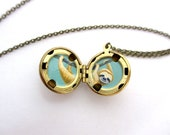 Sloth Locket, Spirit Animal Jewelry, Hand-Painted Animal Necklace in Brass Ball Locket