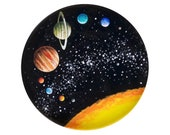 """Solar System Mini Print of Original Painting - Framed 5""""x5""""  Artwork of Outer Space and Planets"""