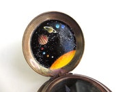 Solar System Copper Compass, Hand-Painted Intricate Tiny Art, True One of a Kind Gift for Him