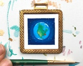 I Heart New York, Tiny Art Print in Vintage Brass Pendant Frame, Mini Affordable Art for Tiny Space