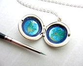 I Miss You Custom Location Locket, Hand-Painted in Sterling Silver, Long Distance Gift for Far Away Family