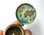World Map Hand-Painted Brass Compass, Gift for Traveler, One of a Kind Accessory
