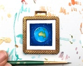 Sydney Australia Print, Tiny Framed Art in Vintage Brass, Mini Affordable Art for Small Spaces