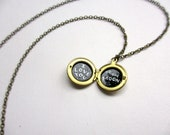 I Love You to the Moon Tiny Locket, Hand-Painted Vintage Brass Necklace