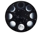 """Moon Phases Mini Print of Original Painting - Framed 5""""x5""""  Black and White Artwork of Outer Space"""