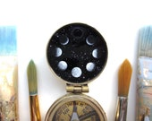 Moon Phases Compass, Individually Painted by Hand in Oil Enamel, Made to Order Celestial Art Gift