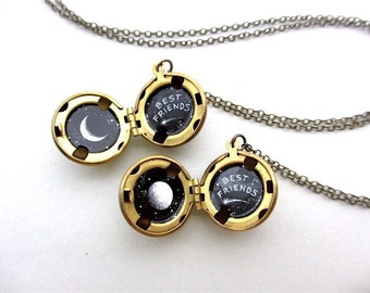 Best Friends Lockets, MADE TO ORDER, Tiny Oil Paintings of Waxing and Waning Moons