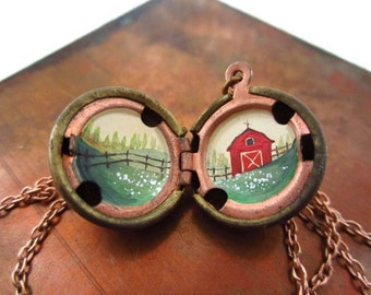 Spring on the Farm Hand-Painted Locket