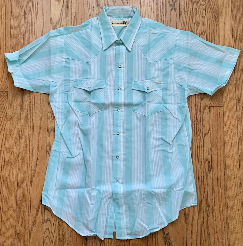 Vintage 1970/'s Mens Deadstock Cowboy Button Up Snap Front Short Sleeve Striped Shirt in Package by Sears Roebuck Size Large