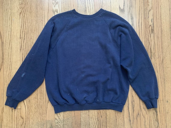Vintage 1950's  Mens Navy Sweatshirt  Distressed C