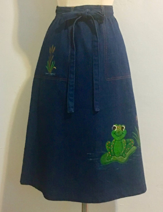 Vintage 1970's Denim Wrap Skirt with Hand Painted