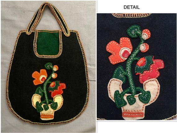 Grapes of Wrath 1930's Handmade Felt Purse with A… - image 1