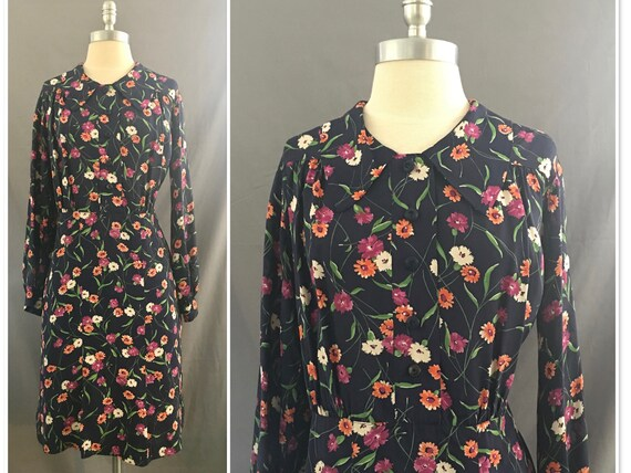 Vintage 1940's Meet and Greet  Floral Day Dress