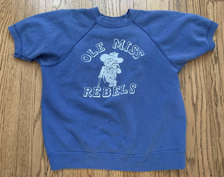 1950s Mens Hats | 50s Vintage Men's Hats 1950S 1960S Mens Vintage Washed Out Blue Short Sleeve Raglan Sweatshirt With Ole Miss Rebels Chest 42 Inches $0.00 AT vintagedancer.com