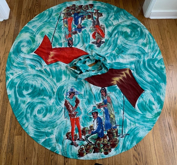 Vintage 1950's  Vibrant Hand Painted Mexican Circl