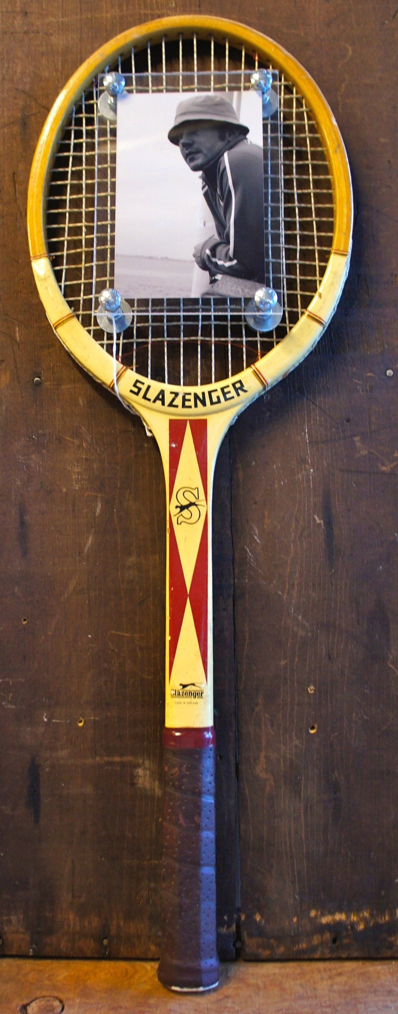 Vintage Wood Tennis Racket Picture Photo Frame Wall Hanging image 0