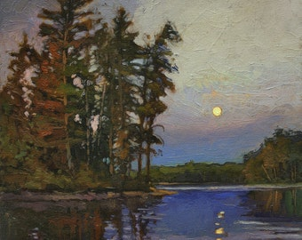 Pines Under A Full Moon - Arts and Crafts CRAFTSMAN - Matted Giclee Fine Art PRINT Moonrise 12x12 by Jan Schmuckal