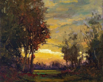 "Tonalist Impressionist Art - Matted Giclee Fine Art Print  ""Brillig"" Sunset 11x14 by Jan Schmuckal"