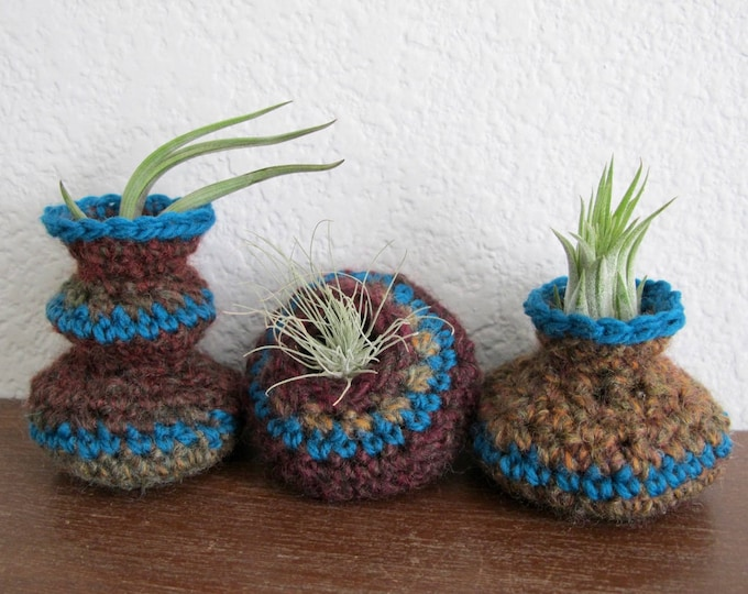 Air Plant Pots Crochet Pattern - Crocheted Vessels Collection Number One - Tillandsia Pots - PDF Crochet Pattern