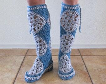 Tall Muk Luks - Slipper Socks - Crocheted Socks - Slippers - Boots - PDF Crochet Pattern