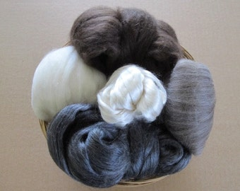 Luxury Spinning Fibers Gift Basket / Gift for Yarn Spinners / Cultivated Silk / Yak / Merino / Free Shipping