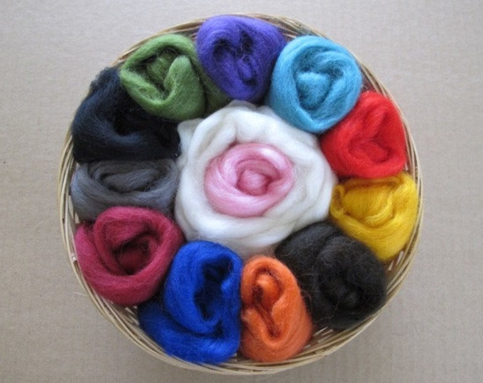 Felting Gift Basket / Wool Sampler for Felters / Wool Basket