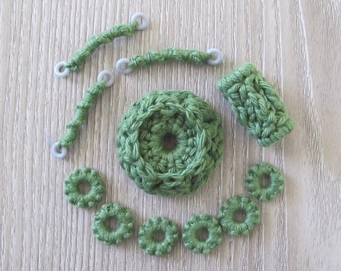 Fiberpunk Beads - Green - 11 Piece Set - Fiber Beads - Crocheted and Tatted Beads for Jewelry Making - Components - Free Shipping