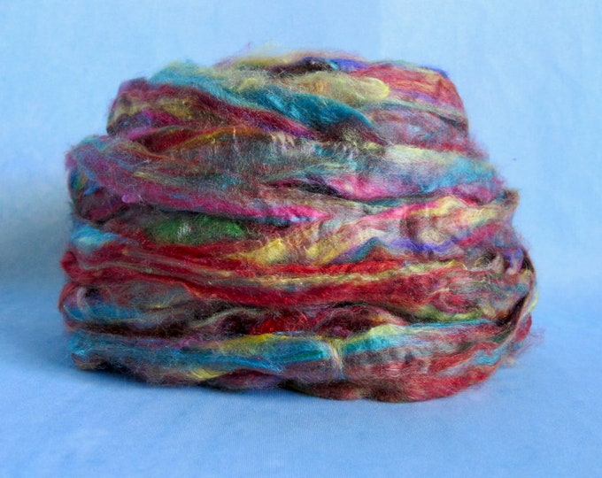 Recycled Sari Silk Sliver Top - Sari Silk for Spinning - 100% Recycled Sari Silk