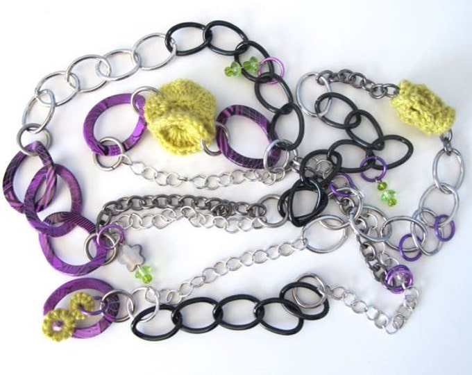 "Fiberpunk™ Necklace - Chartreuse and Violet - Extra Long 25"" / Fiber Jewelry / Crochet Jewelry / Tatted Jewelry / Free Shipping"