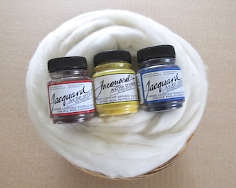 Dye Your Own Wool Gift Basket / Learn to Dye Wool Basket / Jacquard Dyes / Merino Wool / Instructions