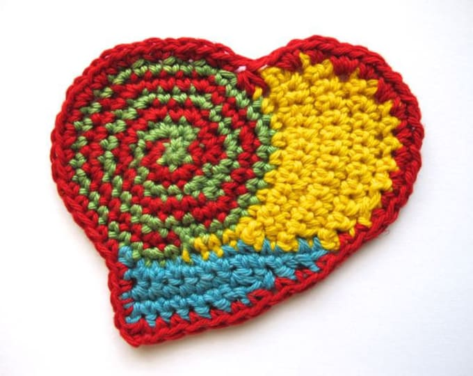 Folk Art Heart - Coaster and Appliqué - PDF Crochet Pattern