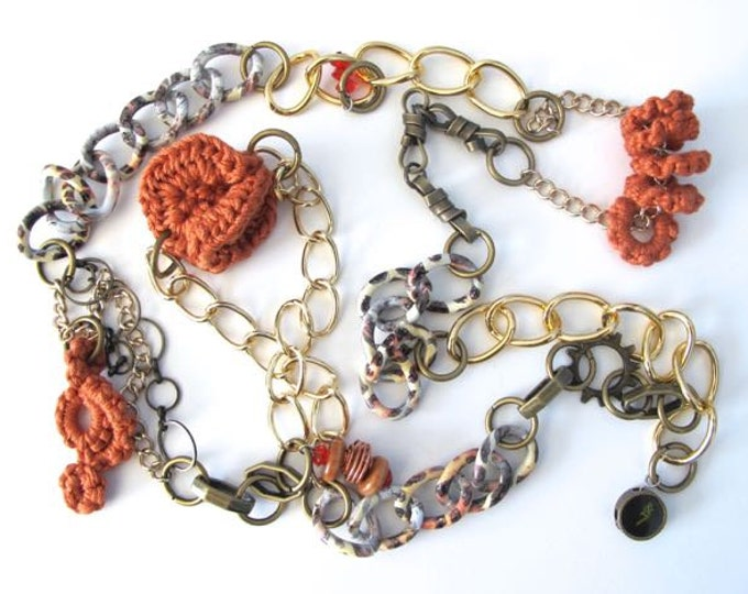 "Fiberpunk™ Necklace - Burnt Orange - Extra Long 25"" / Fiber Jewelry / Crochet Jewelry / Tatted Jewelry"