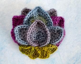 Lotus Flower Appliqué Crochet Pattern - Crocheted Flower - Crochet Applique - Crochet Round Motif - Lotus Flower - PDF Crochet Pattern