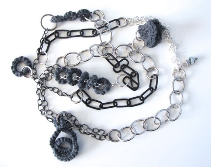 "Fiberpunk™ Necklace - Pewter Gray - Extra Long 25"" / Fiber Jewelry / Crochet Jewelry / Tatted Jewelry / Free Shipping"