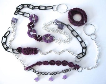 """Fiberpunk™ Necklace - Lavender Violet - Extra Long 25"""" / Fiber Jewelry / Crochet Jewelry / Tatted Jewelry / Free Shipping"""