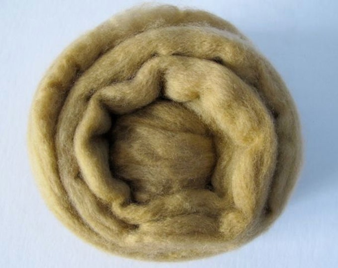 Roving Singles Khaki Merino 1oz (with a free sample of matching firestar) - Free Shipping