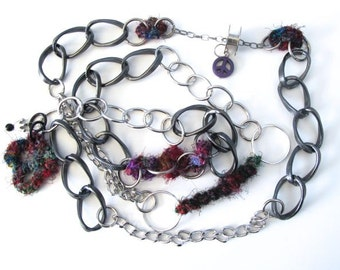 "Fiberpunk™ Necklace - Sari Silk - Extra Long 25"" / Fiber Jewelry / Crochet Jewelry / Tatted Jewelry / Free Shipping"